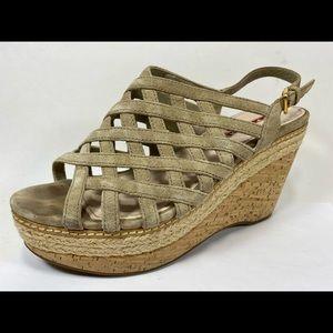 Prada Suede Slingback Wedge Sandals Women's 38.5